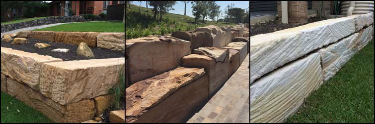 Sandstone Log Retaining Walls